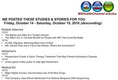 My book and MD Health Channel's MS/Alzheimer's/Medical Marijuana posts: Articles from today and yesterday on the MDHealthC...