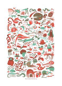 Monsters serigraphy by Marfigram on DeviantArt