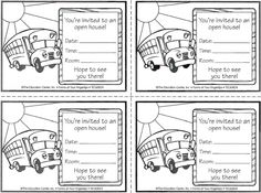 These simple invitations are a great way to communicate the date, time, and location of your open house! Open House Kindergarten, Preschool Open Houses, Kindergarten Activities, Notes To Parents, Parents As Teachers, Parent Notes, Parent Teacher Meeting, Meet The Teacher, Back To School Night