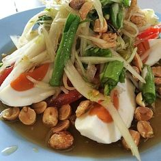 Thai food. Sum tum with salty egg