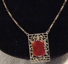 1923 Art Deco Sterling Silver And Carnelian Stone Necklace