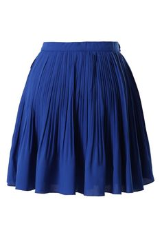 #Chicwish Chiffon Pleated Skirt in Blue