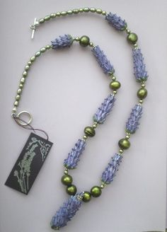 Lavender Harvest Necklace with green pearls and lampwork glass beads by LavenderJewelry