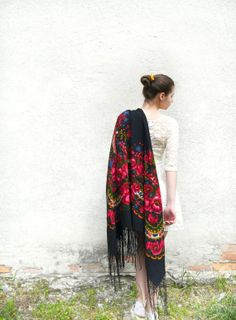 Vintage Ukrainian shawlRussian shawl Wool shawl by bestLuba, $84.00