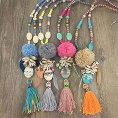 2016 de cuero de lujo de bohemia de la joyería de la borla de hilo verano de Boho del collar del grano de la borla de la turquesa collares pendientes