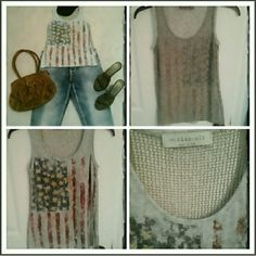Patriotic tank 🗽🇺🇸Reposh, doesn't fit,  mesh net backing, gold studs on stars (not all but that's how ot was made), make me a offer with the offer button🇺🇸 Tops Tank Tops