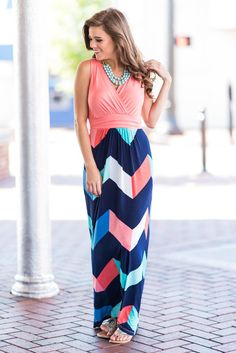 """""""Up To Something Maxi Dress, Coral"""" How cute is this bright chevron maxi!? The colors are so vibrant and absolutely perfect for summertime!  #newarrival #shopthemint"""
