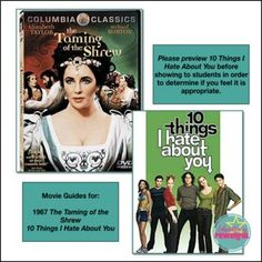 Shakespeare's The Taming of the Shrew & 10 Things I Hate About You Movie Guides British Literature, English Literature, High School Subjects, Movie Guide, Vocabulary List, Teaching Resources, Secondary Resources, Retelling, Elizabeth Taylor