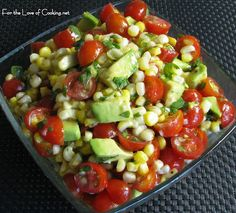 My absolute favorite summer BBQ salad. Grilled corn, avocado + tomato with spicy honey lime dressing. This is delicious & a great way to use leftover grilled corn. I Love Food, Good Food, Yummy Food, Tasty, Salada Light, Honey Lime Dressing, Cilantro Dressing, Balsamic Dressing, Salad Dressing