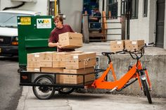Unloading a cargo bike at a dock. Visit the slowottawa.ca boards http://www.pinterest.com/slowottawa/