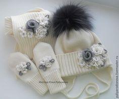 Купить Зимний мериносовый комплект для девочки - белый, однотонный, зимний комплект, шапка вязаная