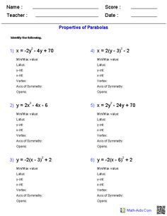 Worksheets Parabola Worksheets quadratic function equation and worksheets on pinterest properties of parabolas worksheets