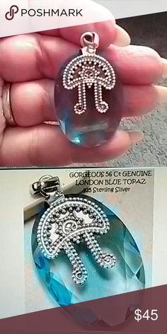 "London Blue Topaz Pendant.  .925 Sterling Silver 56 CT London Blue Topaz Pendant. .925 Sterling Silver. Approx 1 3/4"" Jewelry Necklaces"