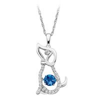 Created Blue and White Sapphire Lovebeat Dog Pendant in  Sterling Silver