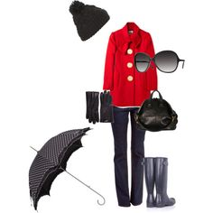 Perfect outfit for a cold rainy or snowy day.