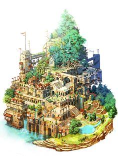 paisaje urbano My Favorite Fantasy Artwork - Fantasy Town, Fantasy Castle, Fantasy House, Fantasy Map, Fantasy World, Dark Fantasy, Fantasy Art Landscapes, Fantasy Landscape, Fantasy Concept Art