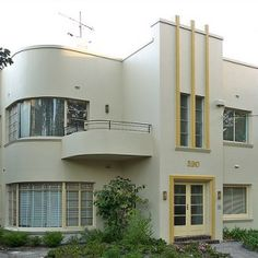 art deco house with interesting painted details