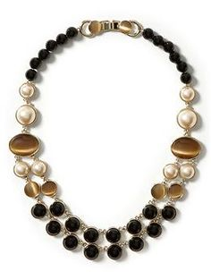 Mod focal necklace with faux tiger eye and pearls