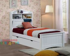 Harmony bed frame features handy pull down storage in the bed head as well as plenty of space for night lights, books and trinkets. Complete with storage trundle drawer, which is great for kids sleepovers and extra storage. beds4kids