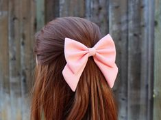 4.5 pink hair bow fabric hair bow with tails big por TwinkleMingle