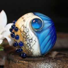 Ivory and Blue Silverglass Lampwork Bead by Perlentraum. Sold already. Love the blue and sand color combo, very beachy
