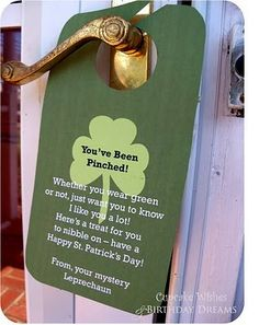 "Just like being ""You've Been Booed"" at Halloween...on St. Patrick's Day...""You've Been Pinched!"". - Click image to find more Holidays & Events Pinterest pins"