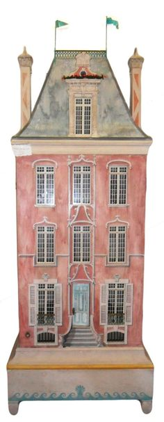 Eric Lansdown dollhouse Cardboard Dollhouse, Dollhouse Dolls, Dollhouse Miniatures, Pink Dollhouse, Antique Toys, Vintage Toys, Play Houses, Doll Houses, Victorian Dolls