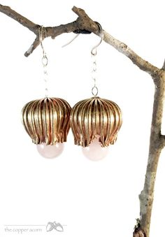Floral Drop Earrings in Vintage Brass Sterling and by copperacorns