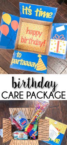 A Birthday Care Package - Jessica Lynn Writes Diy Birthday Box, 17th Birthday Gifts, 50th Birthday, Birthday Ideas, Birthday Sayings, Brother Birthday, Birthday Images, Friend Birthday, Birthday Greetings