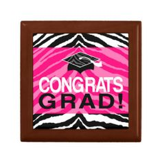 Hot Pink Zebra Congrats Girl's Graduation Party Trinket Jewelry Box, for the tassel and other keepsakes. #classof2014 #graduation #gradparty @Zazzle Inc.