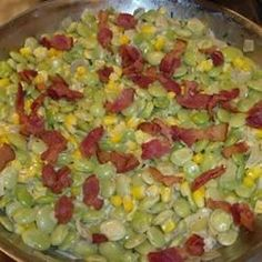 Creamy Succotash with Bacon, Thyme and Chives Recipe Bacon Recipes, Vegetable Recipes, Corn Succotash, Fresh Chives, Fresh Thyme, Barley Risotto