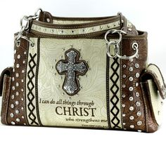 I CAN DO ALL THINGS THROUGH CHRIST RHINESTONE SHOULDER BAG PURSE Matching Wallet Sold Separately