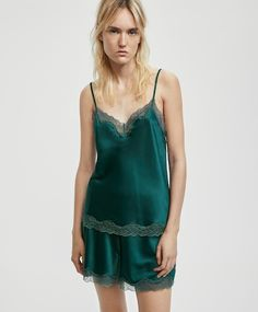 Sleeveless camisole with blonde lace, - Sleeveless camisole with blonde lace neckline and adjustable straps. - Find more trends in women fashion at Oysho . Pyjamas, Camisole Top, Lingerie, Tank Tops, Lace, Womens Fashion, Bright, Dresses, Gowns