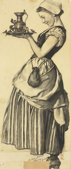 Norman Rockwell (1894-1978) Standing Colonial Woman (Study for 'Under the Mistletoe') signed with initials 'NR' and inscribed 'To my friend /Larry/Norman Rockwell' (lower right) charcoal on paper 30 1/2 x 13 in. (77.5 x 33 cm.)
