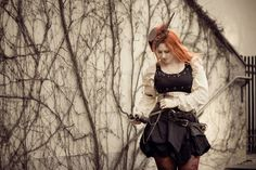 Ginger model Varganess in steampunk pirate photoshoot with Belinda Bärtzner. Love <3