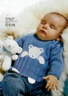 a cute teddy sweater - La Grenouille Tricote clothing Baby Knitting Patterns, Baby Sweater Knitting Pattern, Knit Baby Sweaters, Boys Sweaters, Knitting For Kids, Knitting Designs, Baby Patterns, Knitting Sweaters, Baby Knits