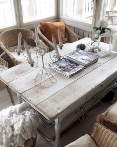 """Country Home & Art Posters on Instagram: """"Old farmhouse table with what I call """"vintage Ikea"""" chairs, as they are from 20 years ago 😄 Lasikuistin pöydän alla säilytetään…"""""""