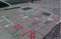 many markings on a road