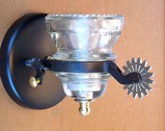 Cowboy Spur Insulator Light Sconce - Black