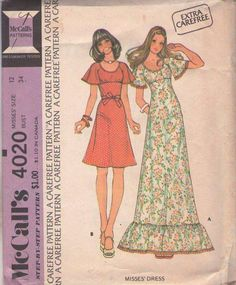 MOMSPatterns Vintage Sewing Patterns - McCall's 4020 Vintage 70's Sewing Pattern ETHEREAL Bohemian Young Edwardian Raglan Flutter Sleeve Dress, Ruffle Tier Skirt Empire Waist Maxi Gown Size 12
