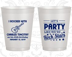 45th Birthday Frosted Cups, Rock Star Birthday, Rock Star Party, Frosted Birthday Cups (20176)