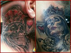 Skeleton queen of hearts love this as an idea for a for King and queen skull tattoos