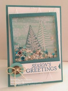 Monday, 15 September 2014 Jan's Creative Corner: Second Trees Shaker Festival of Trees, Bright & Beautiful, All Is Calm dsp, On Film Framelits, Starbursts Framelits,On Point EF, Confetti Stars Punch, Hexagon Punch, Trees Punch