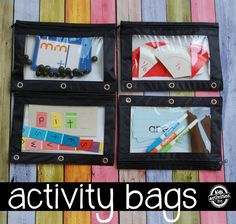 Make your own activity bags for travel or quiet play at home - these each have at least one independent activity a child can do by him/herself.  Love this from Kids Activities Blog!