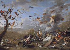 Jan van Kessel (the An Allegory of Air, 1661 Olio su tela, 60 x 84 cm Coll. Art Van, Zeus And Hera, Renaissance Kunst, Masterpiece Theater, Dutch Golden Age, Dream Art, Oil Painting Reproductions, Old Master, Fantastic Art