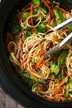 Slow Cooker Lo Mein - Skip delivery and try this veggie-packed takeout favorite for a healthy dinnertime meal that is easy to make right in your crockpot! == DAMN DELICIOUS RECIPE AND IT IS VERY VERY GOOD. I USED CHICKEN BREASTS-2 LARGE, AND USED DRIED UDON NOODLES. :) ===