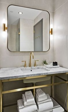 console vanity satin brass unlaquered brass uncoated polished brass modern bath - New York Bathroom Design