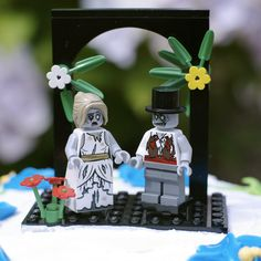 Zombie Bride & Groom LEGO cake topper by boxhounds on Etsy, $57.50