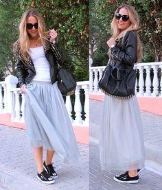 Fashionthebox Tulle Skirt, Fashionthebox Jacket, Zero Uv Sunnies, Vjstyle Bag, Dilosshe Sneakers