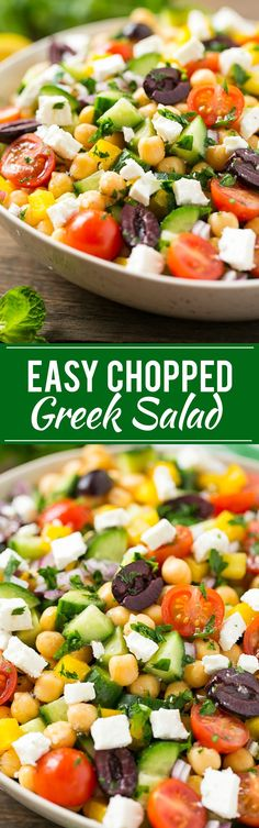 This recipe for chopped greek salad is a variety of fresh vegetables with chickpeas, creamy feta cheese and olives, all tossed in a greek lemon and herb vinaigrette. I LOVED this! I made it without the olives and with green pepper. Vegetable Recipes, Vegetarian Recipes, Cooking Recipes, Healthy Recipes, Vegetarian Cheese, Vegetable Salad Recipes, Dinner Salads, Greek Salad, Mediterranean Recipes